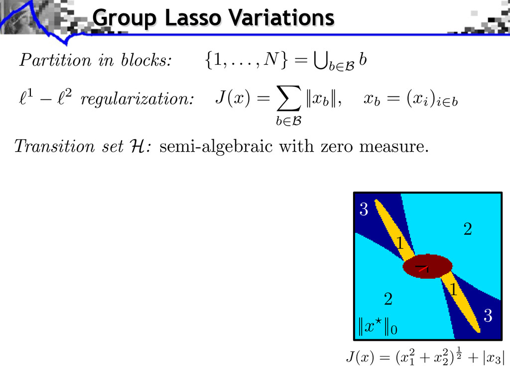`1 `2 regularization: J ( x ) = X b2B    xb    ...