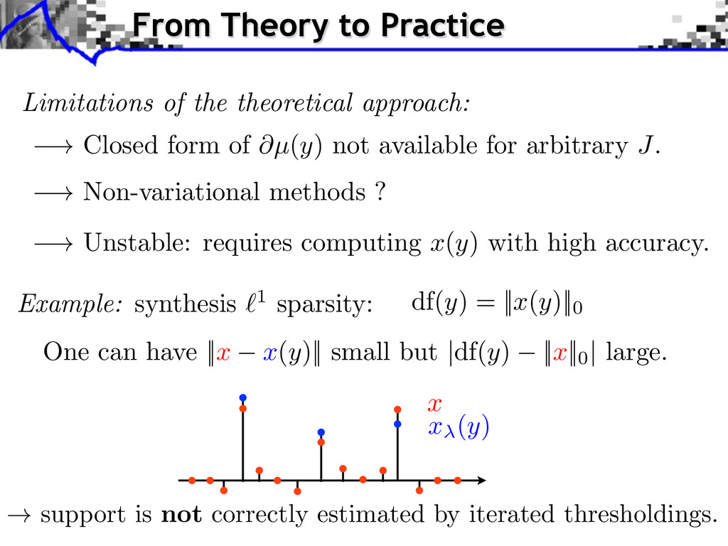 Example: synthesis `1 sparsity: x x ( y ) Limit...