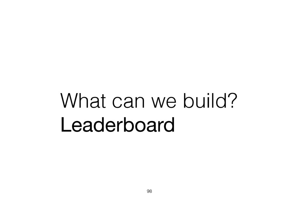 What can we build? Leaderboard 98