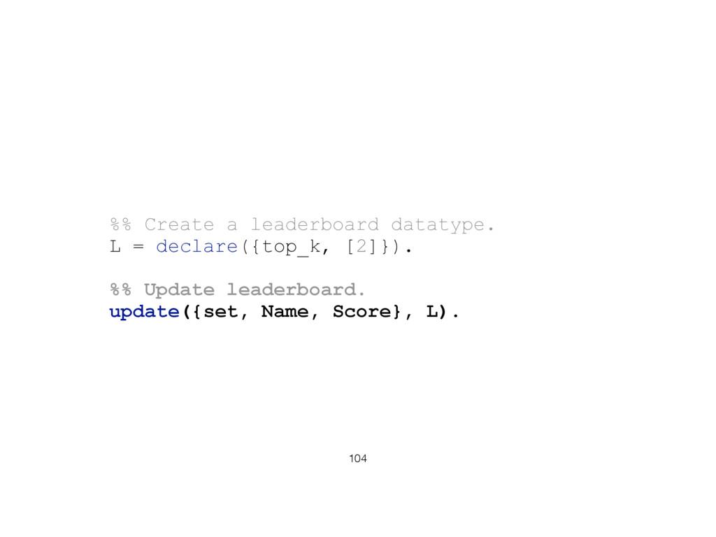 104 %% Create a leaderboard datatype. L = decla...