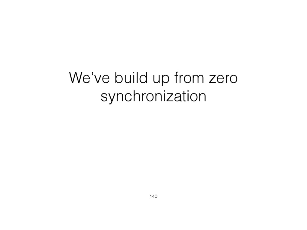 We've build up from zero synchronization 140