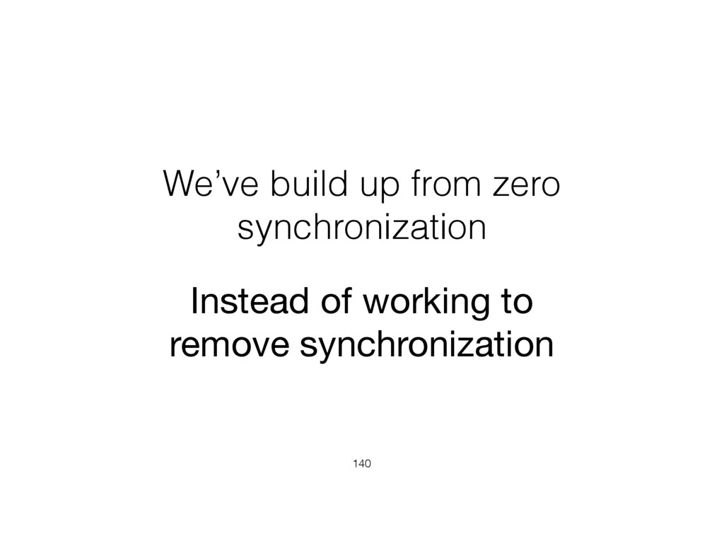 We've build up from zero synchronization 140 In...