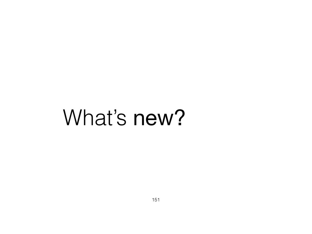 What's new? 151