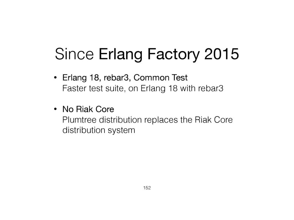 Since Erlang Factory 2015 • Erlang 18, rebar3, ...