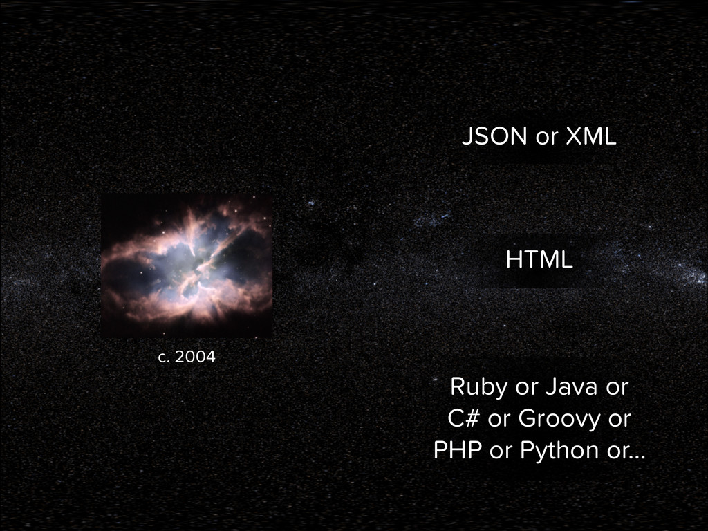JSON or XML HTML Ruby or Java or C# or Groovy o...