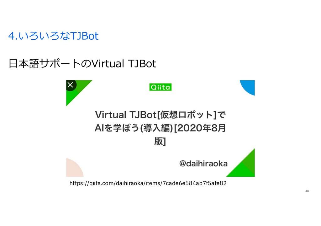 4.いろいろなTJBot 38 ⽇本語サポートのVirtual TJBot https://q...