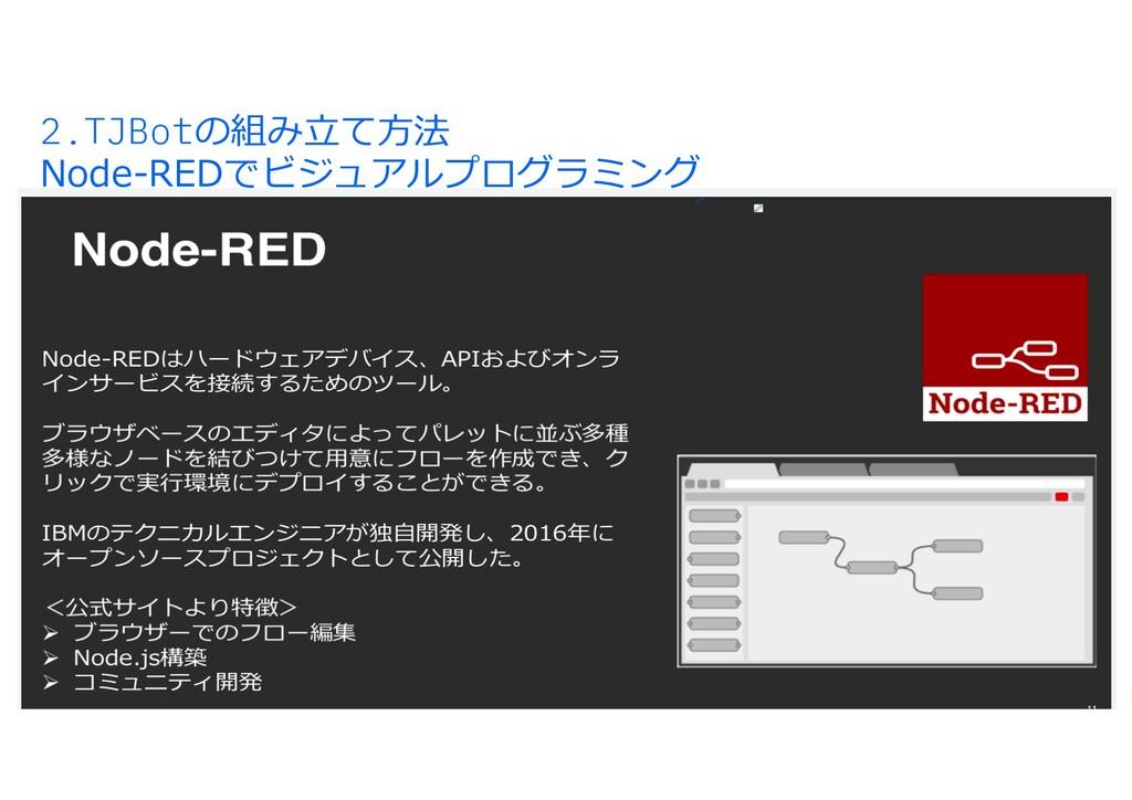 2.TJBotの組み⽴て⽅法 Node-REDでビジュアルプログラミング アプリの実⾏環境がす...