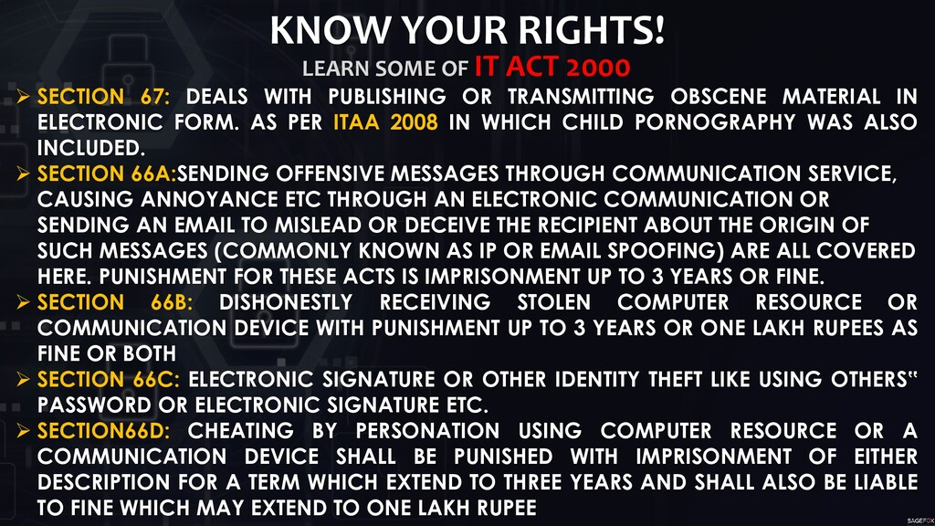 KNOW YOUR RIGHTS! LEARN SOME OF IT ACT 2000  S...