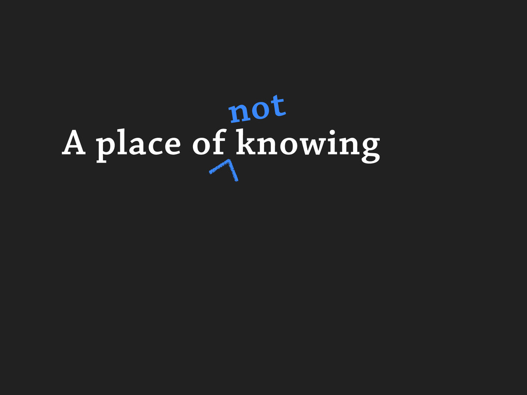 A place of knowing not