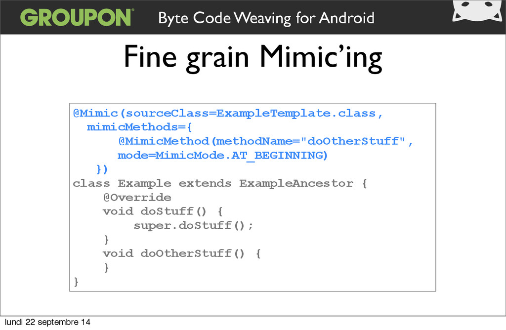 Fine grain Mimic'ing @Mimic(sourceClass=Example...