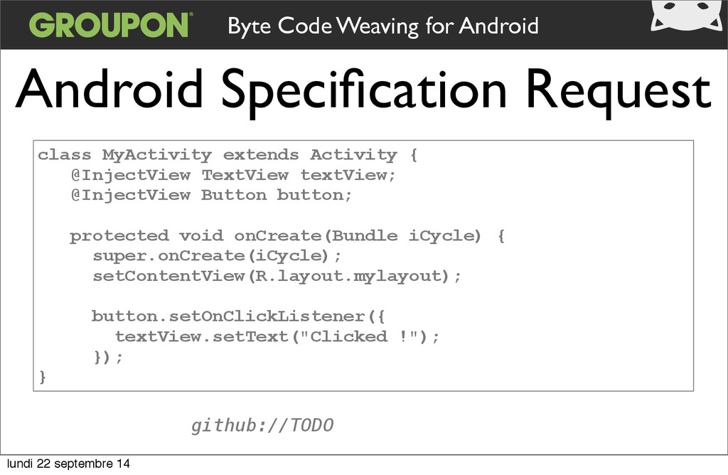 Android Specification Request class MyActivity e...