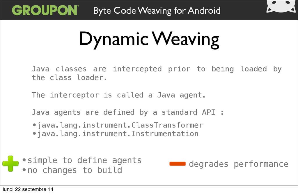 Dynamic Weaving Byte Code Weaving for Android J...