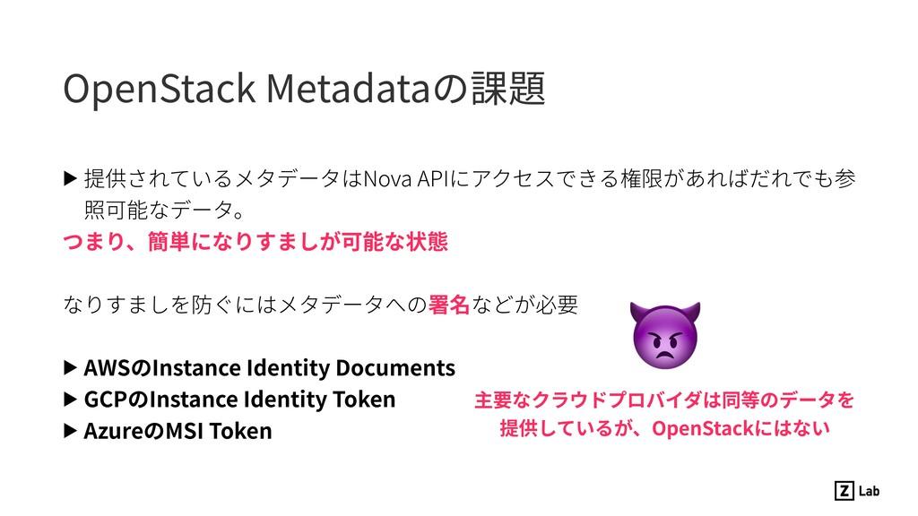 OpenStack Metadataの課題 ▶ 提供されているメタデータはNova APIにア...