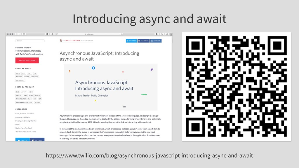 Introducing async and await https://www.twilio....
