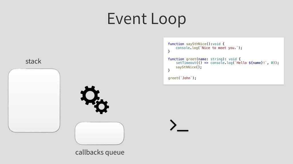 Event Loop stack callbacks queue function saySt...