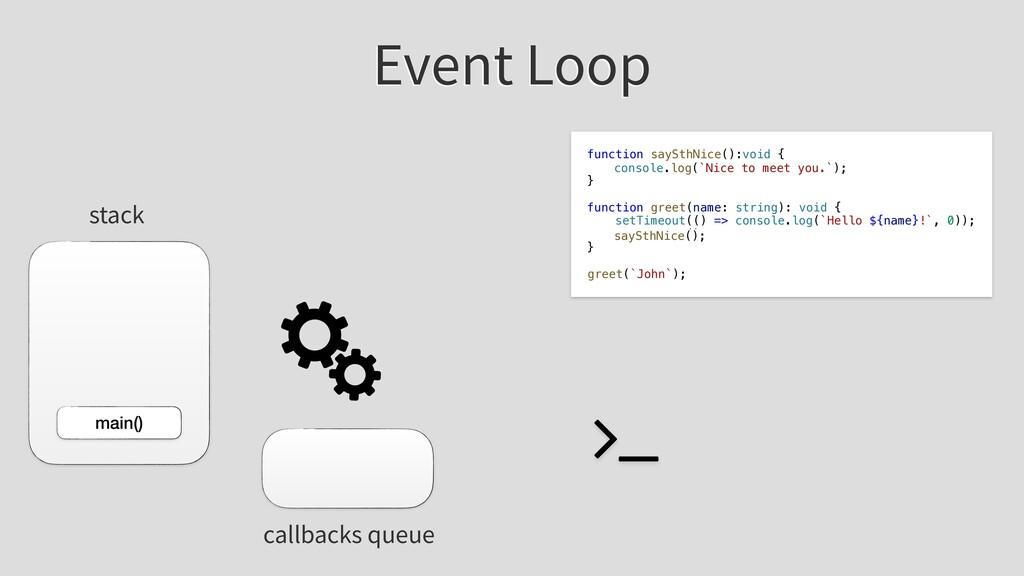Event Loop stack callbacks queue main() functio...