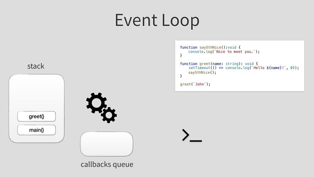 Event Loop greet() stack callbacks queue main()...