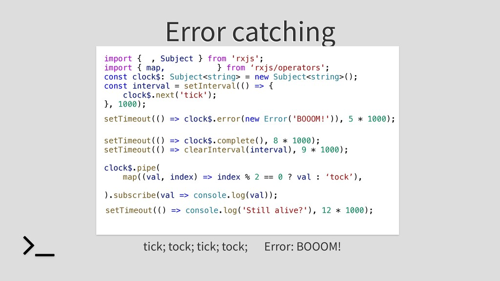 Error catching import { , Subject } from 'rxjs'...