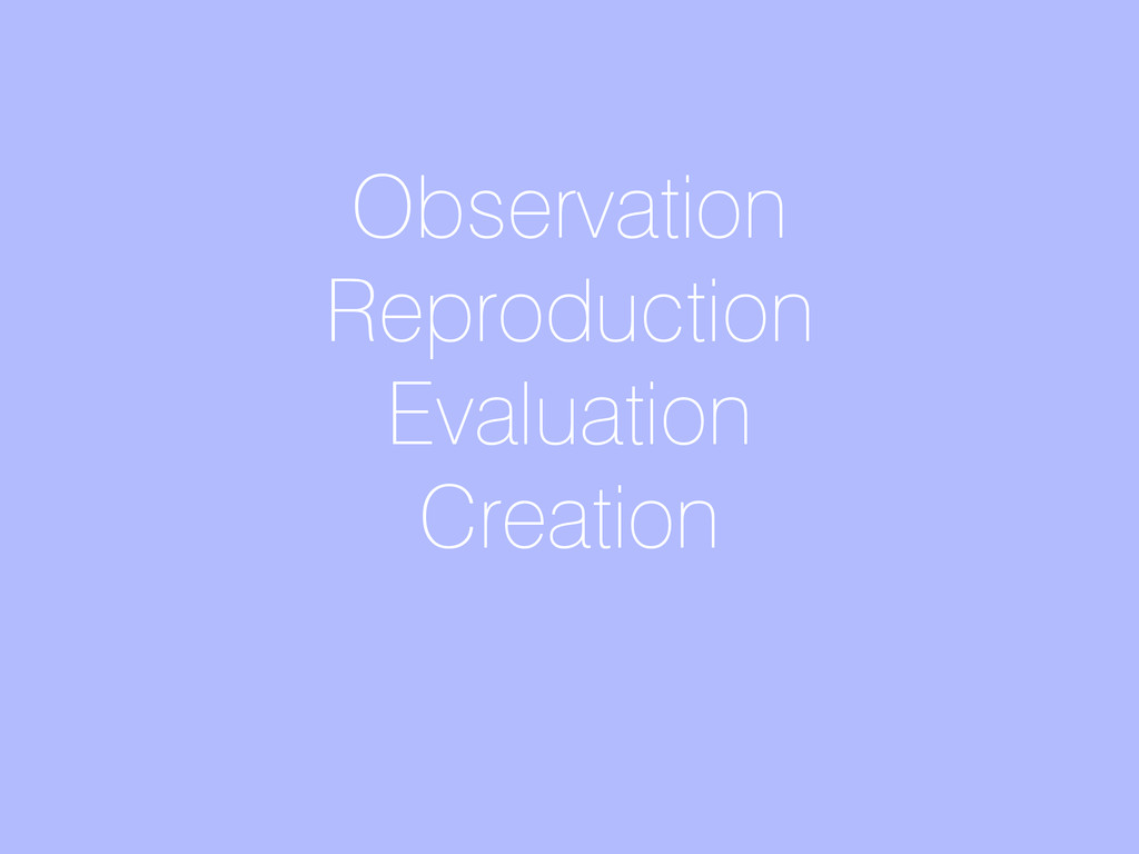 Observation Reproduction Evaluation Creation
