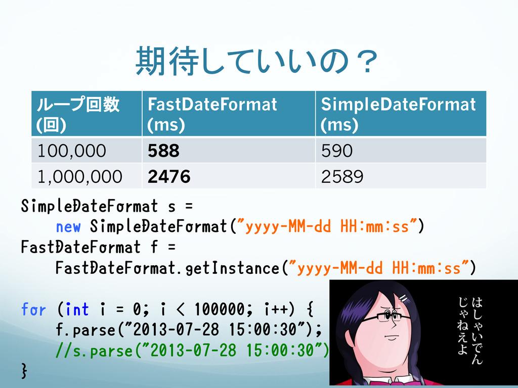 期待していいの? ループ回数 (回) FastDateFormat (ms) Si...