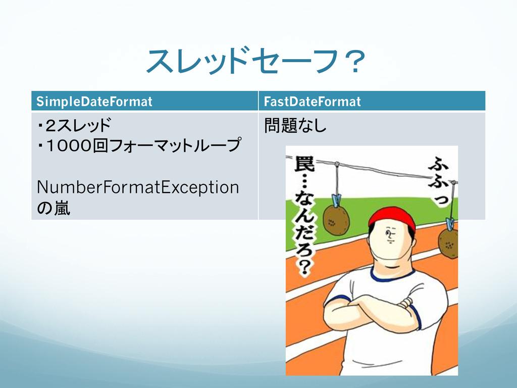 スレッドセーフ? SimpleDateFormat FastDateFormat ...