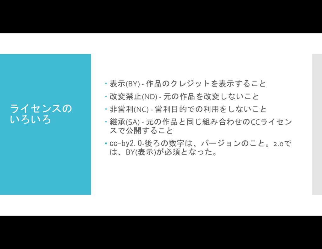ライセンスの いろいろ  表示(BY) - 作品のクレジットを表示すること  改変禁止(N...