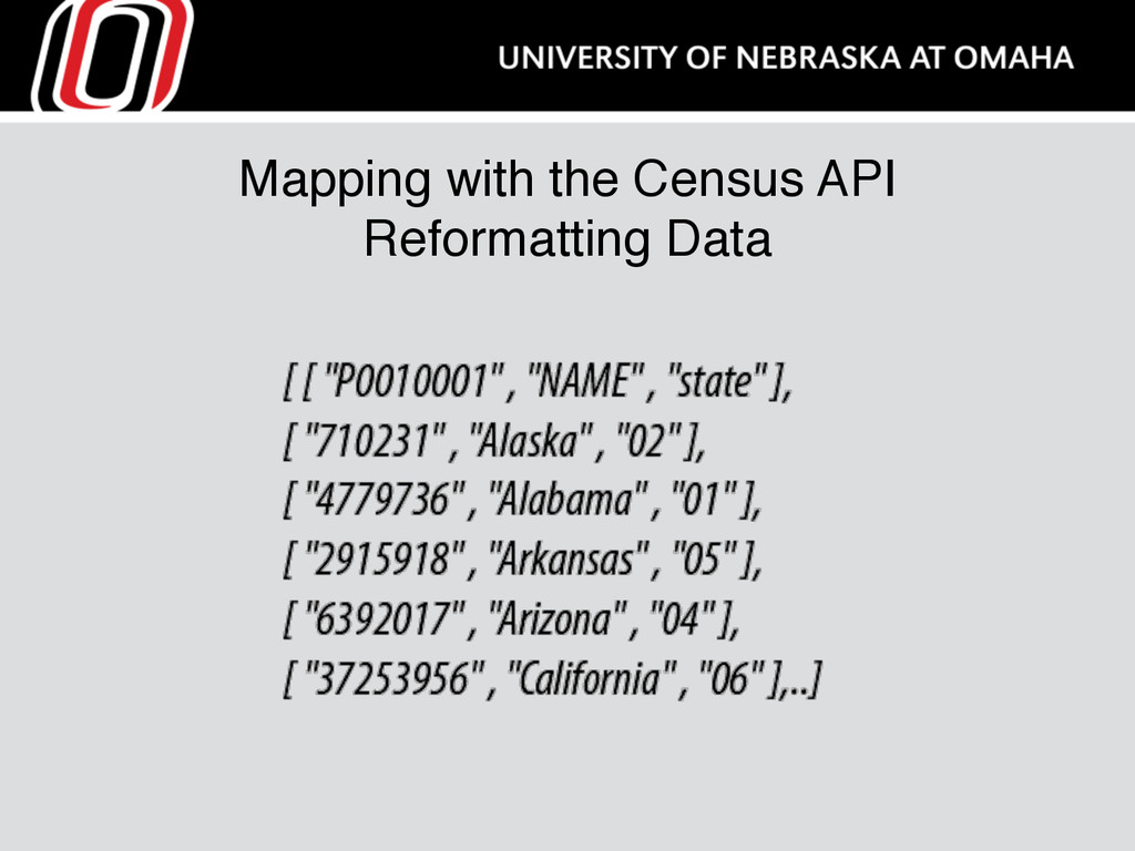 Mapping with the Census API Reformatting Data