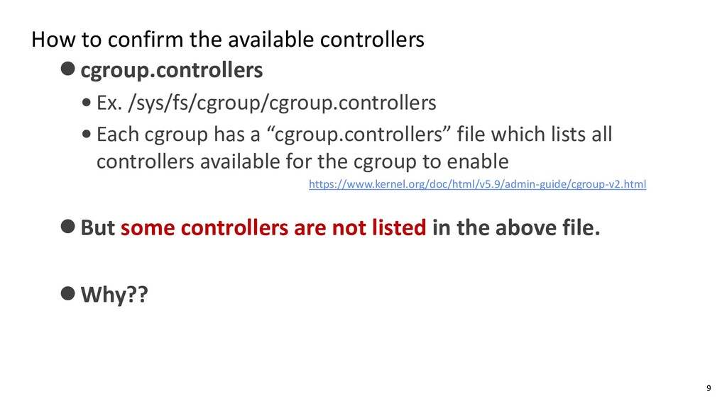 How to confirm the available controllers ⚫cgrou...
