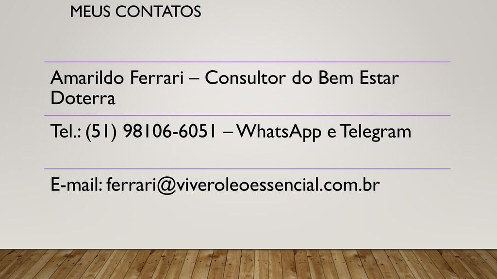 MEUS CONTATOS Amarildo Ferrari – Consultor do B...