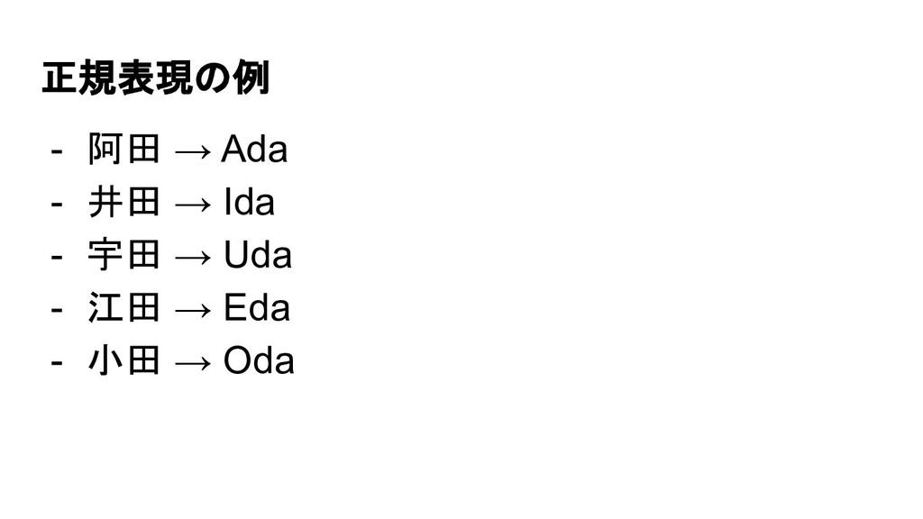 正規表現の例 - 阿田 → Ada - 井田 → Ida - 宇田 → Uda - 江田 → ...