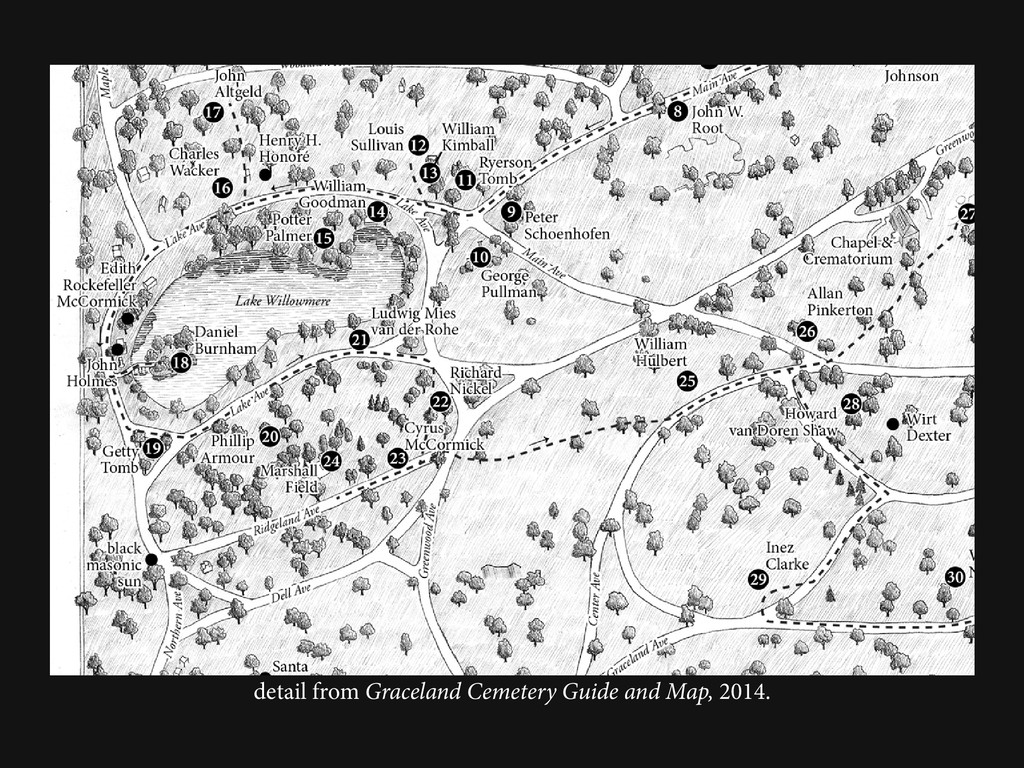 detail from Graceland Cemetery Guide and Map, 2...