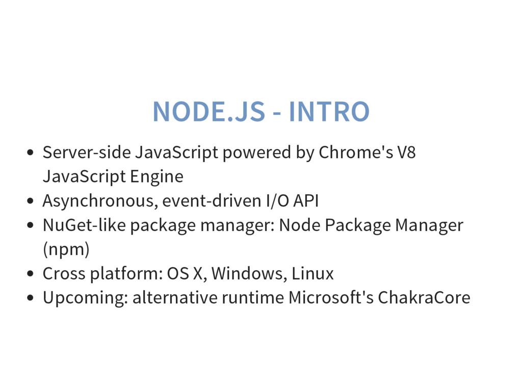 NODE.JS - INTRO Server-side JavaScript powered ...