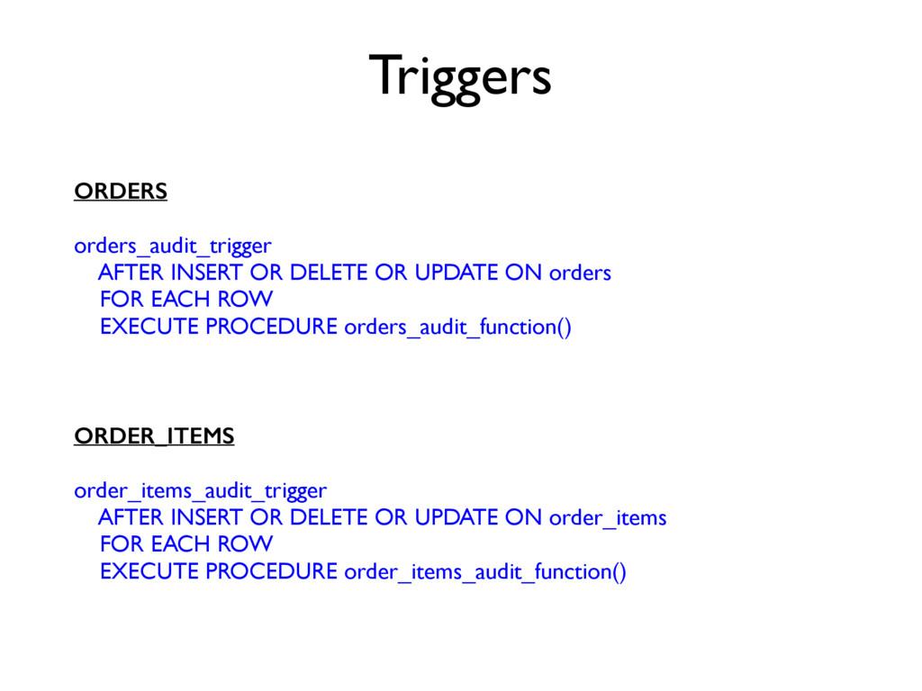 ORDERS orders_audit_trigger AFTER INSERT OR DEL...