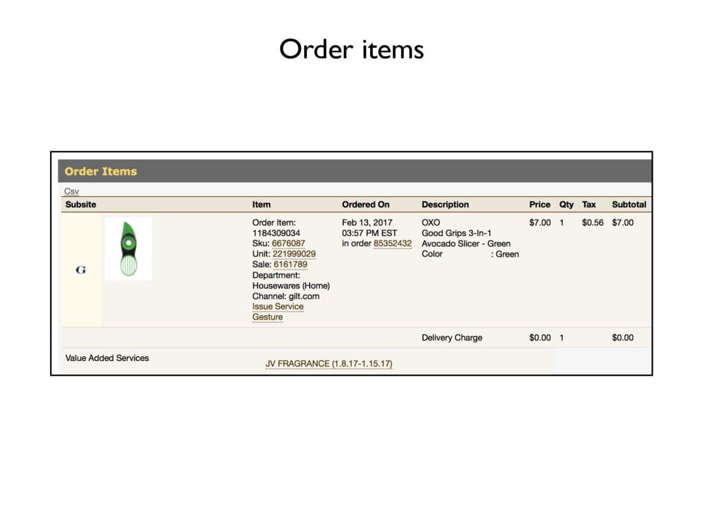 Order items