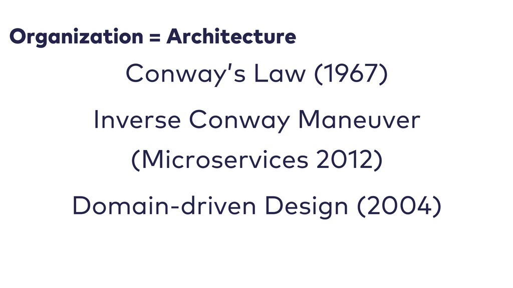 Organization = Architecture Conway's Law (1967)...