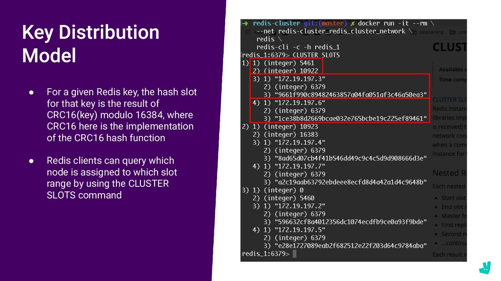 ● For a given Redis key, the hash slot for that...