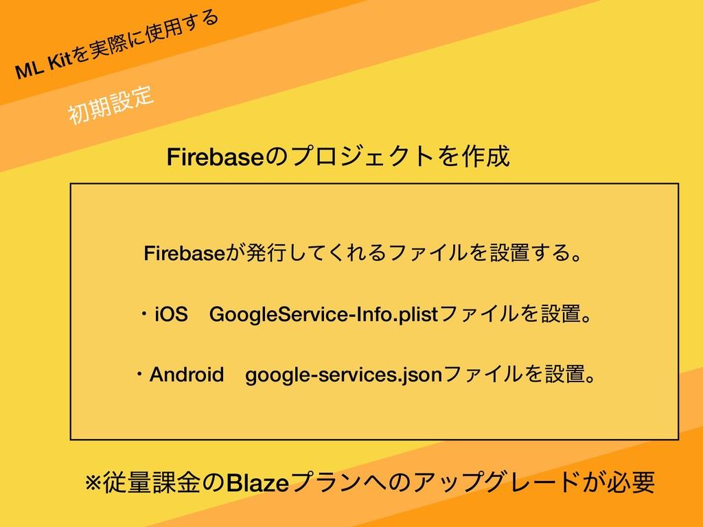ML KitΛ࣮ࡍʹ༻͢Δ ॳظઃఆ FirebaseͷϓϩδΣΫτΛ࡞ Firebase...