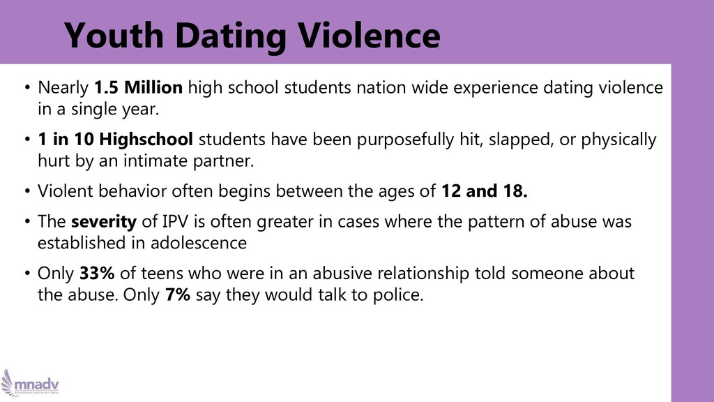 Youth Dating Violence • Nearly 1.5 Million high...