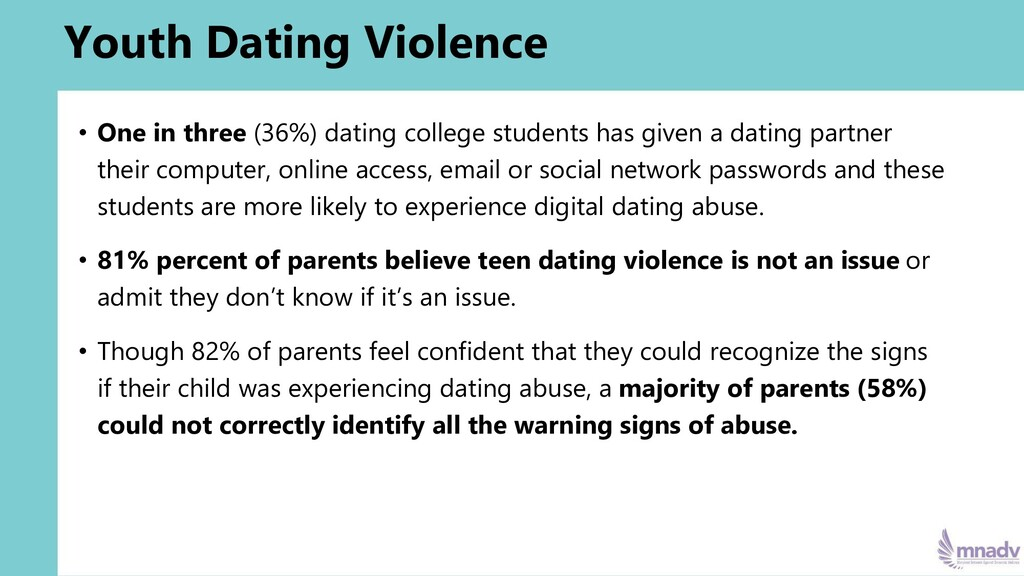 Youth Dating Violence • One in three (36%) dati...