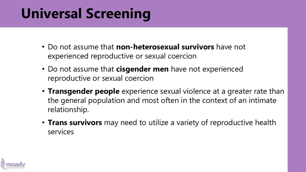 Universal Screening • Do not assume that non-he...