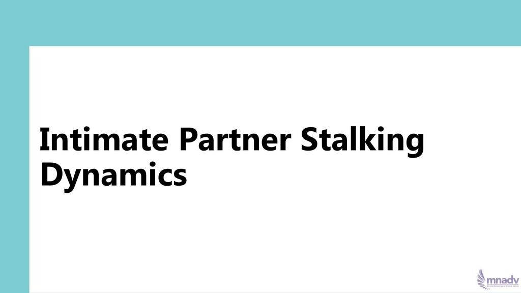 Intimate Partner Stalking Dynamics