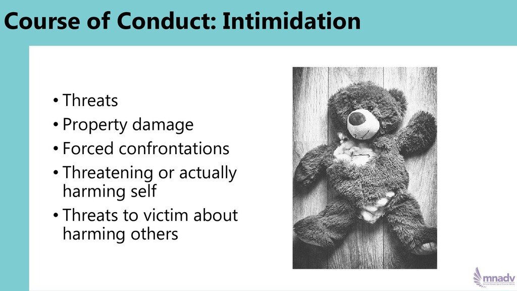 Course of Conduct: Intimidation • Threats • Pro...