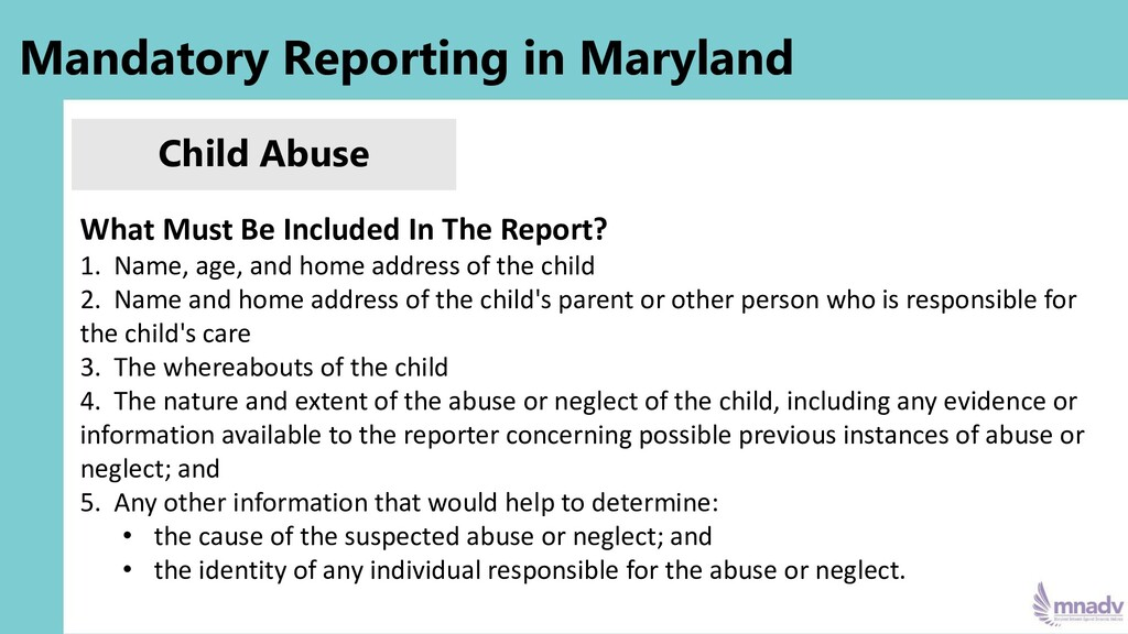 Mandatory Reporting in Maryland Child Abuse Wha...