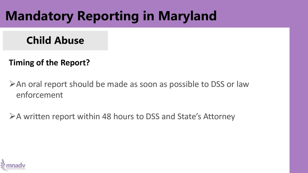 Mandatory Reporting in Maryland Child Abuse Tim...