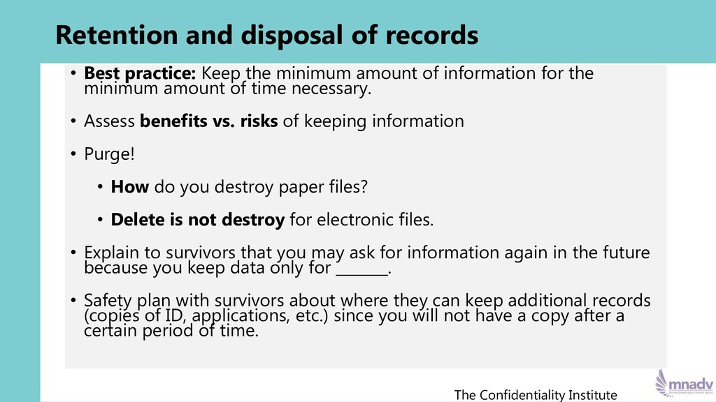 Retention and disposal of records • Best practi...
