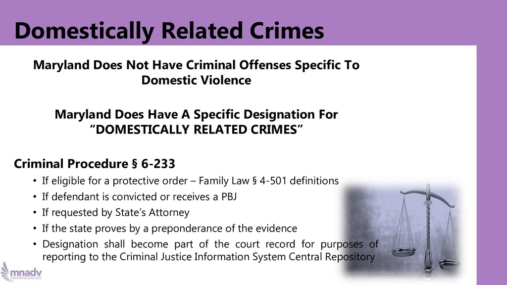 Domestically Related Crimes Maryland Does Not H...