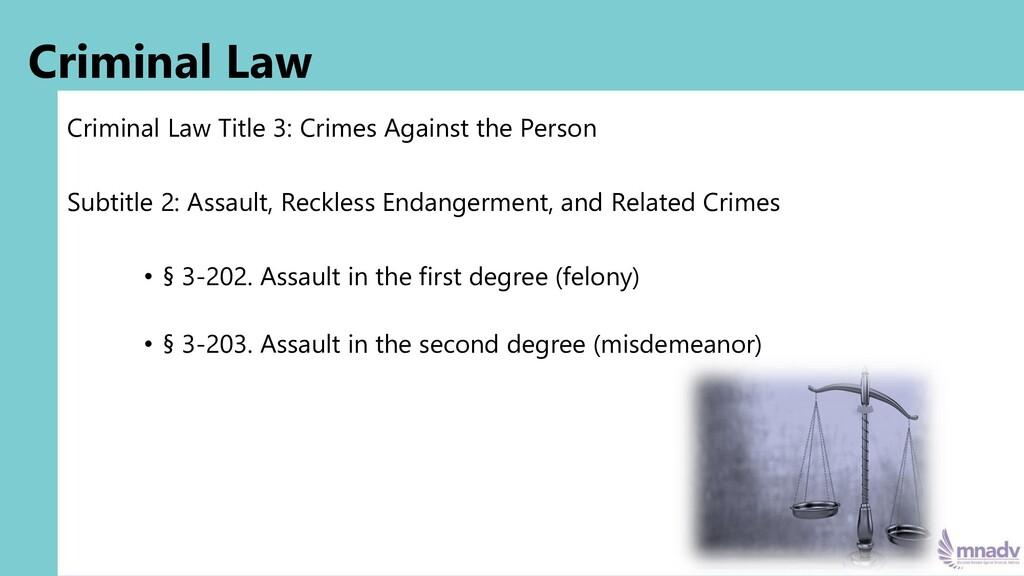 Criminal Law Criminal Law Title 3: Crimes Again...