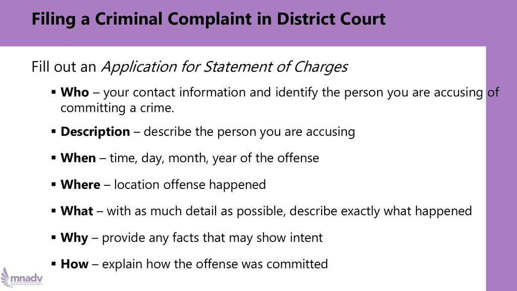 Filing a Criminal Complaint in District Court F...