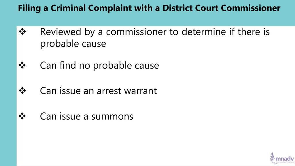 Filing a Criminal Complaint with a District Cou...