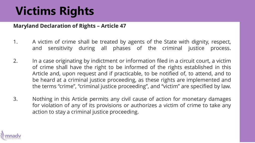 Victims Rights Maryland Declaration of Rights –...